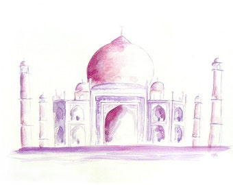 Taj Mahal original abstract watercolor painting, contemporary home decor, modern painting