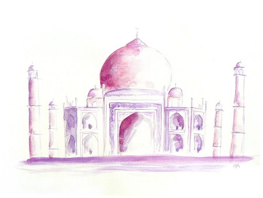 Taj Mahal original abstract watercolor painting contemporary