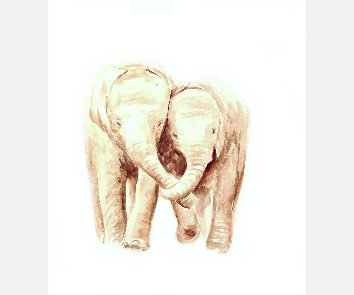 Elephant watercolor painting elephant love by AndreaPaintings - photo#15