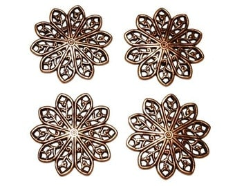 6 Filigree Round Stamping, 20mm, Copper Ox