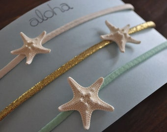 Beach Headband - Boho Headband - Starfish Headband - Starfish Hair Acccessory - Beach Hair Accessories -Mermaid Hair - Mint Green Headband