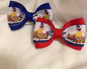 Snow White And the seven Dwarves Hair Bow - 2 inches