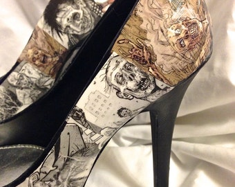 Ultra high Walking Dead Zombie Custom Comic Book Decoupage shoes -  Pumps