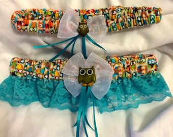 Colorful Owl prom or wedding Keepsake and Toss garter set