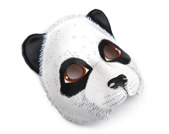 Giant Panda Bear Leather Mask Halloween Costume Black White Animal Forest Carnival Mardi Gras Masquerade Earth Day Gift Party Children Adult