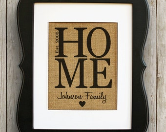 Home Personalized Burlap Wall Decor - Housewarming Gift - Family Name Sign - New House Gift