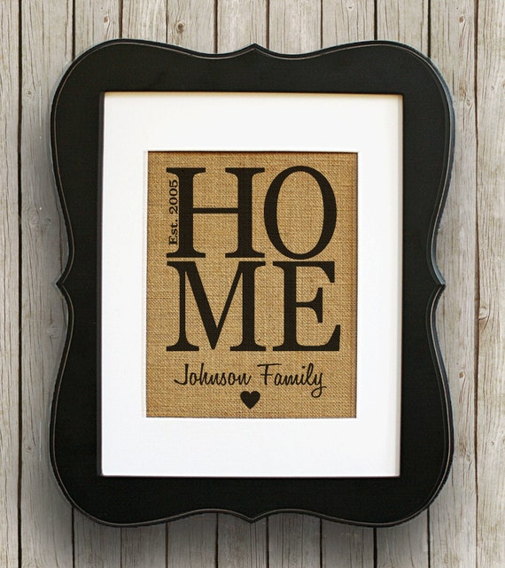 Etsy Family Wall Decor : Home personalized burlap wall decor housewarming gift