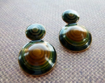 Vintage 1970s Brass And Enamel Earhy Toned Earrings
