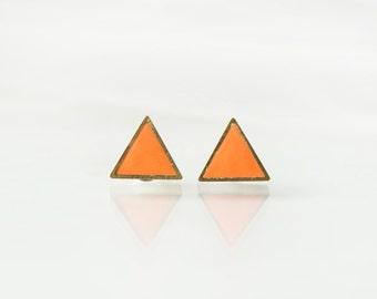 Orange triangle stud earrings