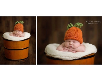 My Little Newborn Baby Knitted Pumpkin Hat Perfect for Photography Props