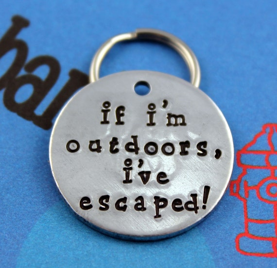 Handstamped Pet ID Tag Personalized Unique Dog by critterbling