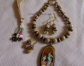 Reserved for C...Custom made Necklace Minakari pearl studded, disc beads  Radhe Krishna pendant with 2 pairs of danglers
