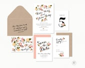FLORAL BLOOM WEDDING Invitations - Hand Drawn Flowers with Calligraphy -  Printable Designs