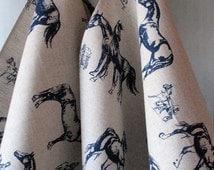 Linen Cotton Dish Towels Horse Tea Towels set of 2