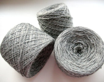 Wool Yarn Gray 350 gr 12.2oz skein / 2 ply, each skein contains approximately 1500-1700 yds