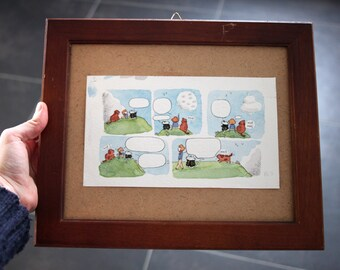 Les nuages : original framed watercolor