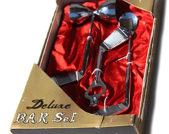 60s GOLF DELUXE Bar Set Madmen Theme in Gold and Red Satin Original Box - Never Used