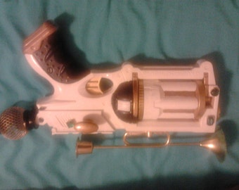 steampunk Victorian gothic gun -- The Ivory Cage Royal Arts Six Shooter White Maverick cosplay prop gun