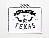 Screenprinted State of Texas Postcard