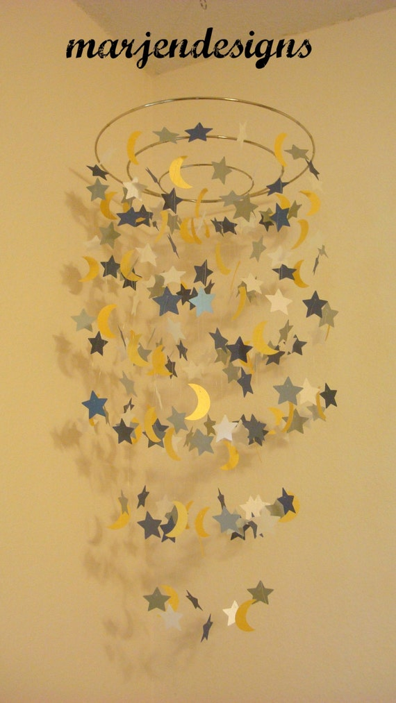 navy silver yellow and cream star and moon mobile by marjendesigns. Black Bedroom Furniture Sets. Home Design Ideas