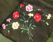 Vintage Black Handkerchief with Embroidered Pink, Red & YellowFlowers
