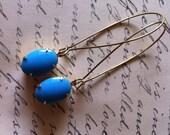 Gift under 15 -Turquoise Rhinestone Earrings - Brass Kidney Wire Earrings - Old Hollywood - Dangle Earring - Statement Earrings -