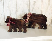 Two Rustic Wood Bears - Set of Two Brown Wooden Cabin Bears