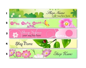 ETSY SHOP BANNERS Sweet Colors 2 Etsy Shop Banners and 2 Avatars