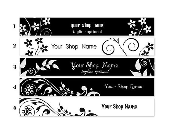 ETSY SHOP BANNERS Black and White 2 Etsy Shop Banners and 2 Etsy Shop Avatars