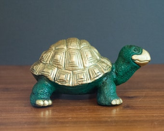 Unusual HEAVY solid brass turtle, emerald green and brass turtle figurine, paperweight, Hollywood Regency animal statue