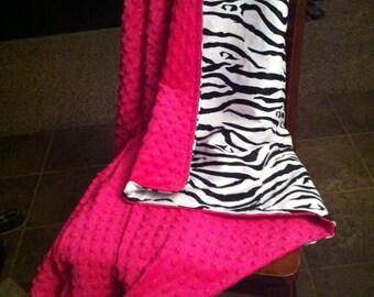 Zebra & minky toddler blanket. Your choice minky color
