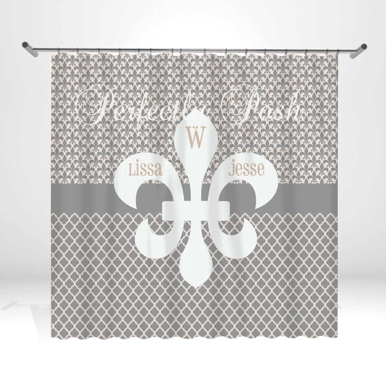 Fleur de lis personalized custom shower curtain monogram with - Fleur de lis shower curtains ...
