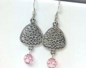 Sterling Silver Dangle Earrings, Pink Swarovski Crystal Earrings, Beaded Jewelry, Silver Earrings, Geometric Earrings