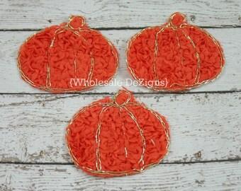 """Orange Rosette Pumpkin -3"""" x 2.5"""" - Halloween or Fall Pumpkin Applique"""
