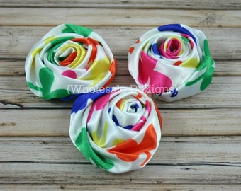 "Rainbow Satin Rolled Rosette Flowers - 2"" - Set of 3 - Multi Colored"