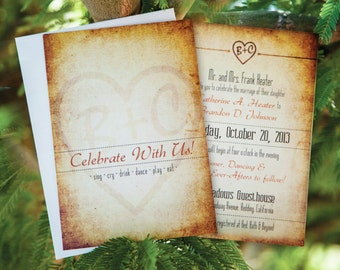 Rustic Wedding Invitation Set with RSVP Postcard