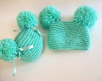 Mint Green Double Fluff Baby Hats-Double POMPOM Newborn Hat -Newborn Baby  Beanie-Newborn baby hat- Knit hat-Baby girl  hat