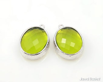 Light Green Glass and Silver Framed Oval Pendent - 2pcs Light Green Glass Oval Pendant, 12 x 16mm, Earrings Jewelry Pendant / SLGS009-P
