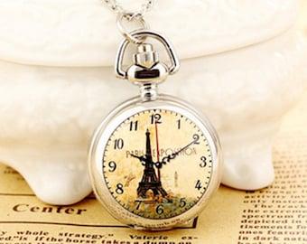 1pcs small  Eiffel Tower  pocket watch charms pendant   25mmx25mm AA202