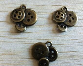 50pcs 14x13mm  Antique look 3D vivid buttons charm-  antique bronze charm pendant  Jewelry Findings
