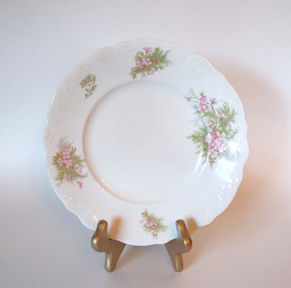 Antique johnson bros royal semi porcelain plate with pink flowers and
