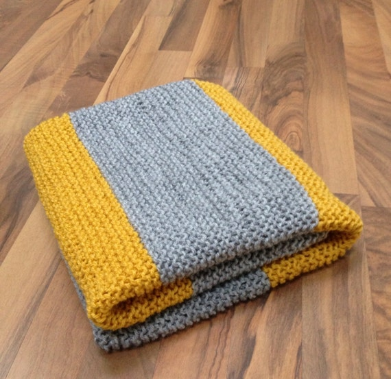 Hand Knit Baby Blanket, Grey & Yellow, Stripes, Simple, Modern, Free Shipping