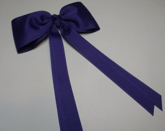 Purple Cheer Team Hair Bow Streamers Tails Traditional Basic Classic Simple Style Toddler Handmade
