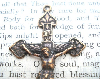 "Large  Crucifix - 2"" - Bronze or Sterling Silver - Vintage Crucifix Replica - Rosary Crucifix (C68-689)"
