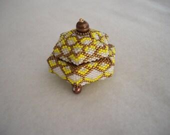 Bronze, Yellow, and White Tuffet Style Beaded Box