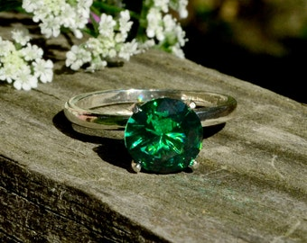 Emerald Ring, Right-Hand Silver Ring, Bridesmaids Gifts, Emerald in Sterling Silver, May Birthstone