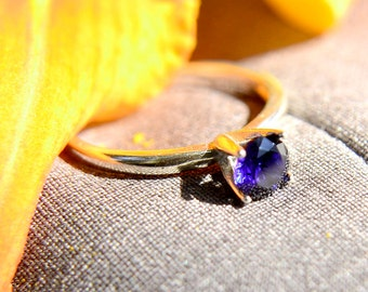 Sapphire Ring in Sterling Silver, Blue Engagement Ring, Silver Wedding Ring, Promise Ring