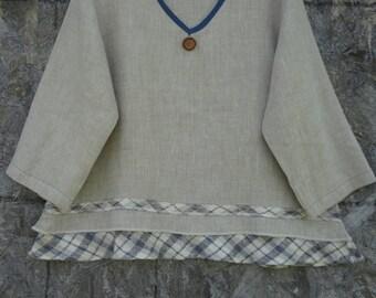 A-Line Top, 3/4 sleeve 100% Linen
