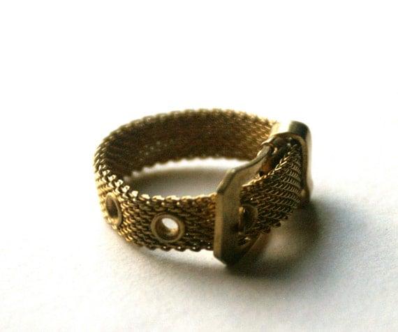 Belt Buckle Ring Vintage Adjustable Metal Mesh Band
