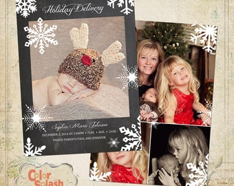 INSTANT DOWNLOAD - Christmas Photoshop card template - Holiday Birth Announcement - Christmas Birth Announcement